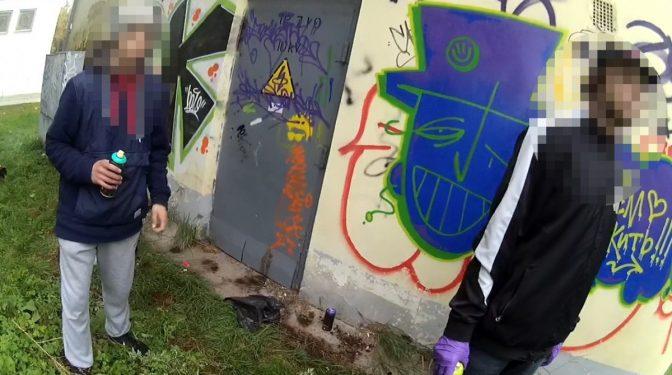 Likumsargi pieķer divus grafiti zīmētājus bojājam privātīpašumu